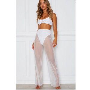 ✨WHITE FOX✨Sheer Mesh Pants in White